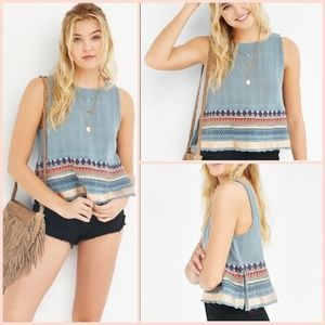 Urban Outfitters Ecote embroidered border tank top